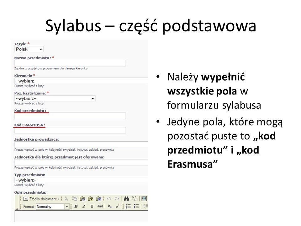 Sylabus – część podstawowa