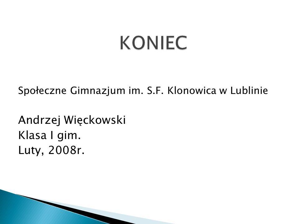 KONIEC Andrzej Więckowski Klasa I gim. Luty, 2008r.