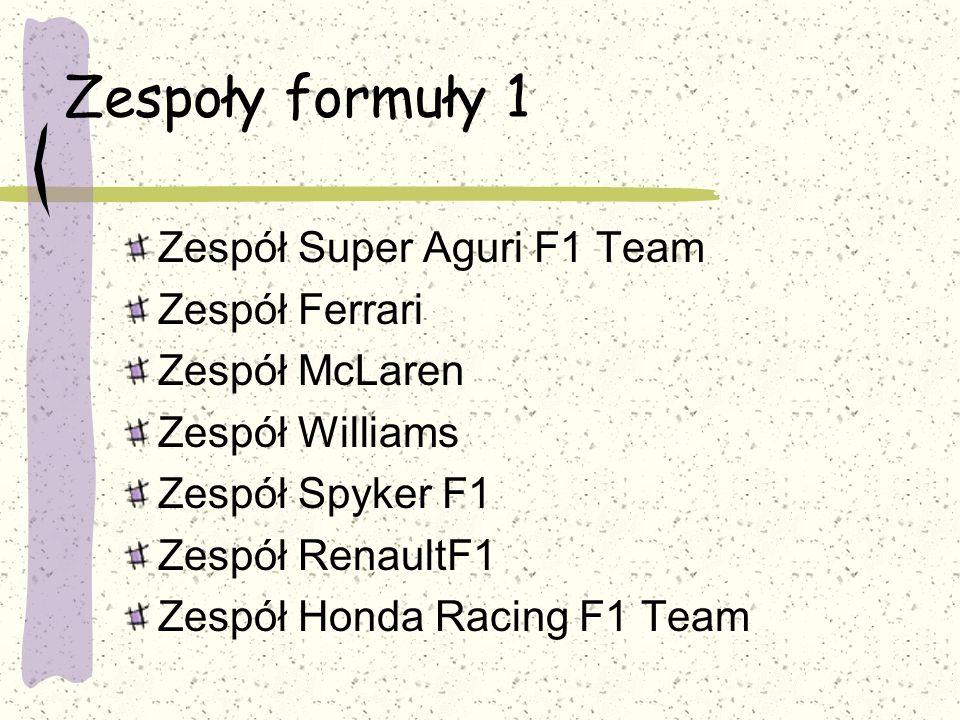 Zespoły formuły 1 Zespół Super Aguri F1 Team Zespół Ferrari
