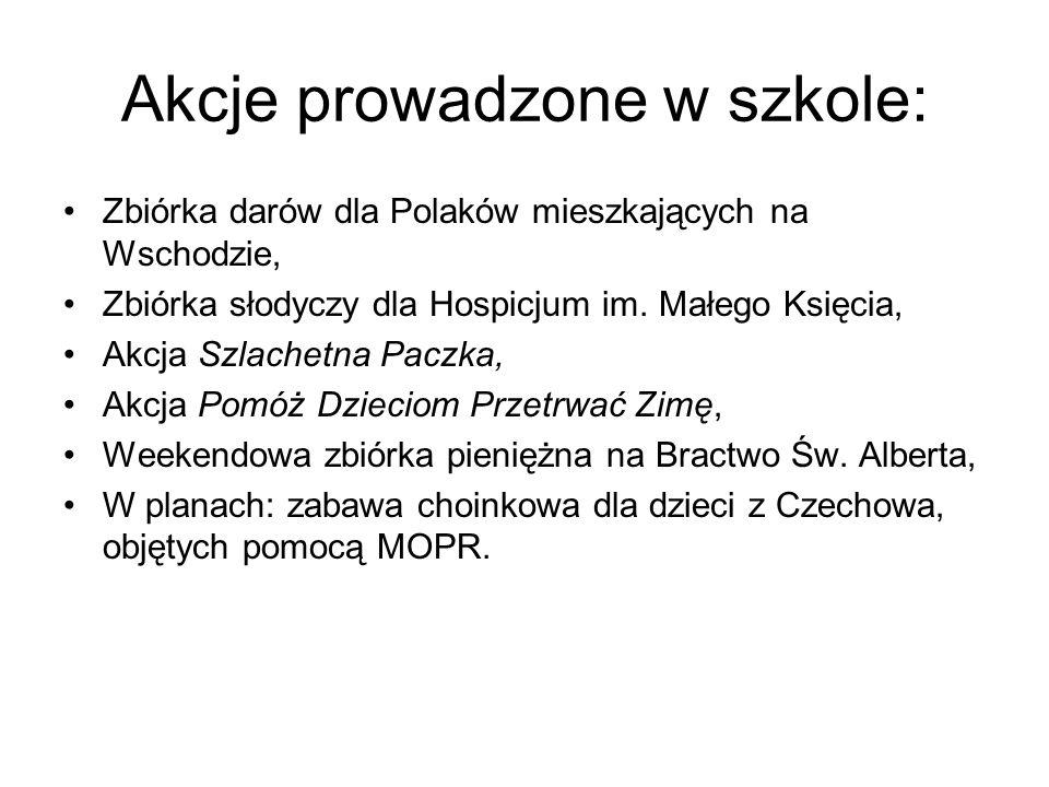 Akcje prowadzone w szkole:
