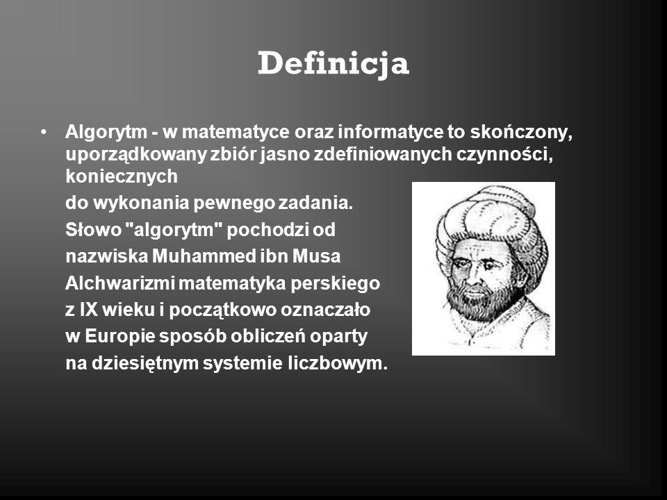Definicja Algorytm - w matematyce oraz informatyce to skończony, uporządkowany zbiór jasno zdefiniowanych czynności, koniecznych.