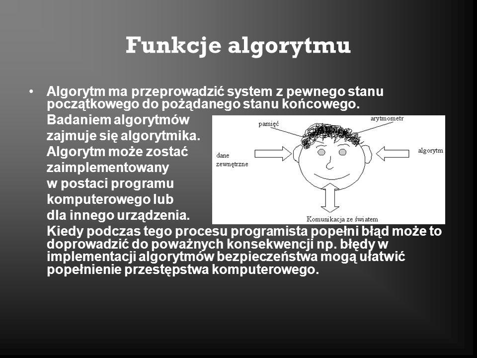 Funkcje algorytmu Algorytm ma przeprowadzić system z pewnego stanu początkowego do pożądanego stanu końcowego.