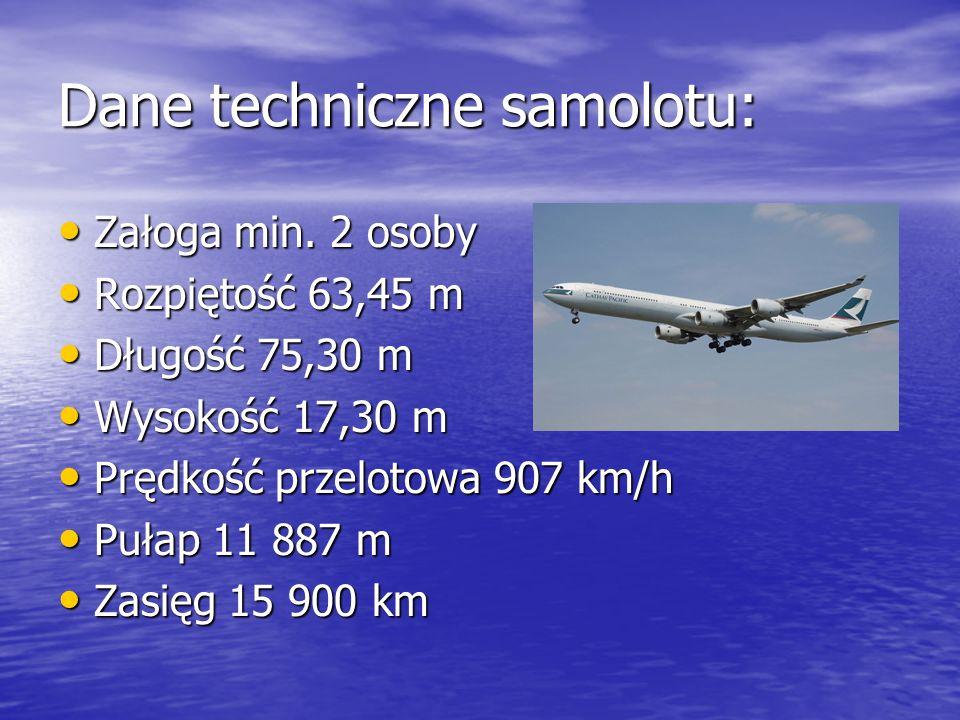 Dane techniczne samolotu: