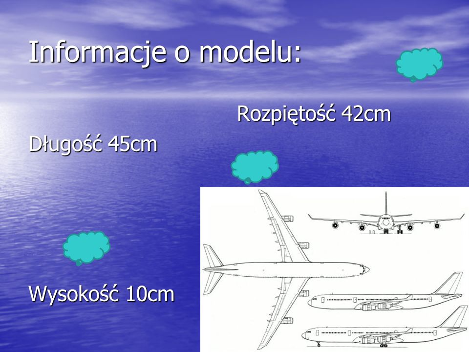 Informacje o modelu: Rozpiętość 42cm Długość 45cm Wysokość 10cm