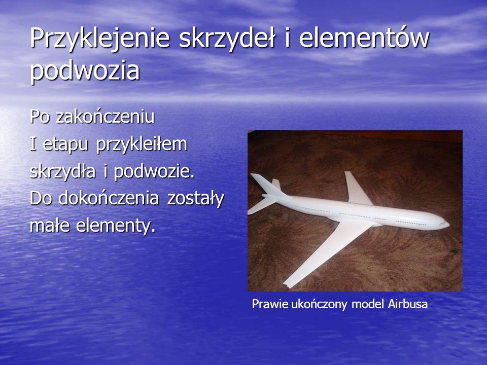 Przyklejenie skrzydeł i elementów podwozia