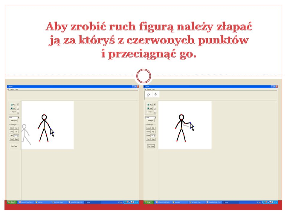 Aby zrobić ruch figurą należy złapać ją za któryś z czerwonych punktów