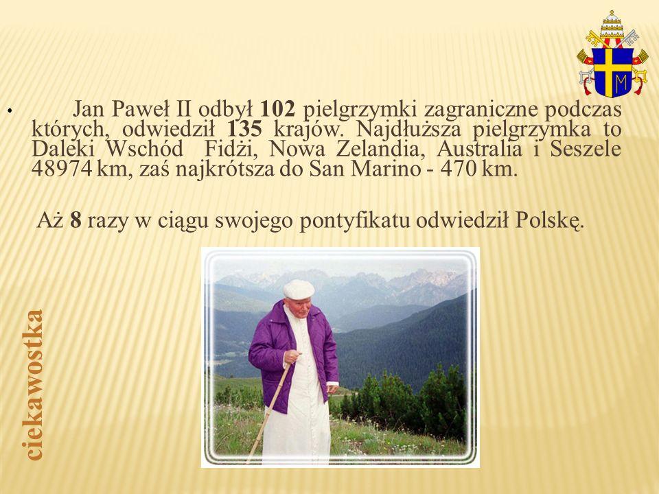 Jan Paweł II odbył 102 pielgrzymki zagraniczne podczas których, odwiedził 135 krajów. Najdłuższa pielgrzymka to Daleki Wschód Fidżi, Nowa Zelandia, Australia i Seszele 48974 km, zaś najkrótsza do San Marino - 470 km.