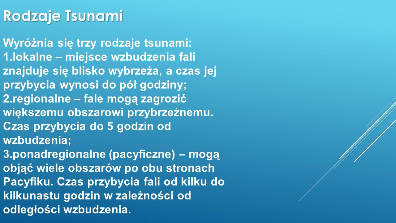 Rodzaje Tsunami Wyróżnia się trzy rodzaje tsunami: