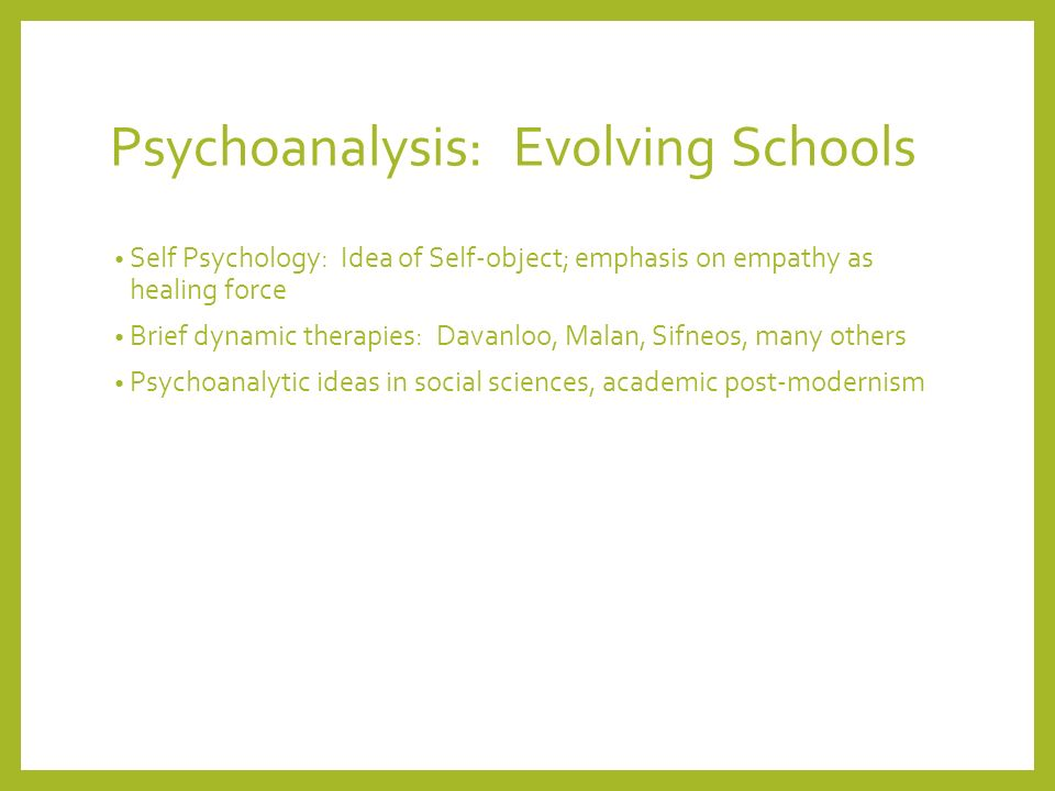 Psychoanalysis: Evolving Schools