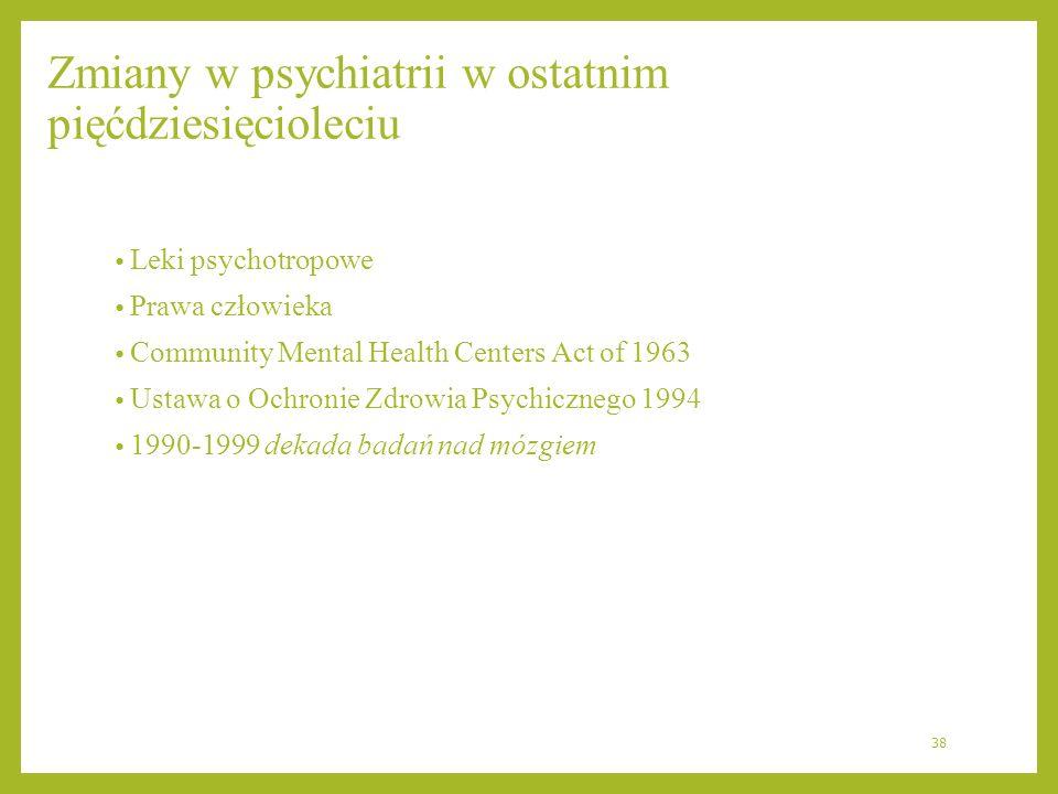 Zmiany w psychiatrii w ostatnim pięćdziesięcioleciu
