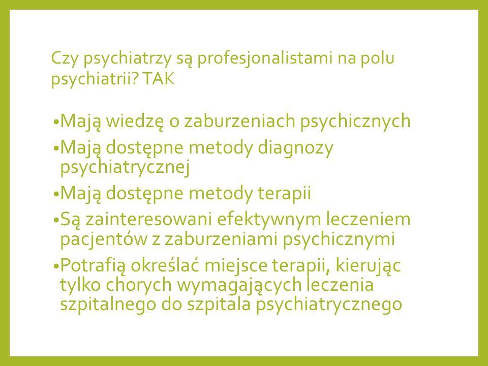 Czy psychiatrzy są profesjonalistami na polu psychiatrii TAK