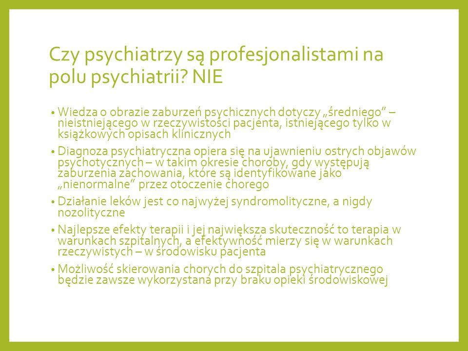 Czy psychiatrzy są profesjonalistami na polu psychiatrii NIE