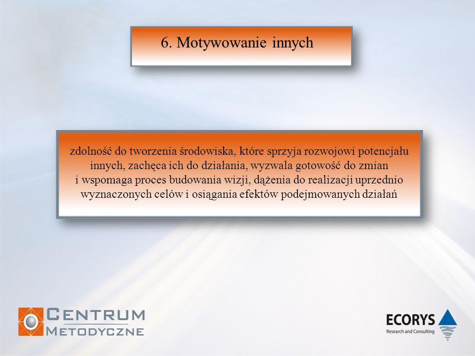 6. Motywowanie innych zdolność do tworzenia środowiska, które sprzyja rozwojowi potencjału.