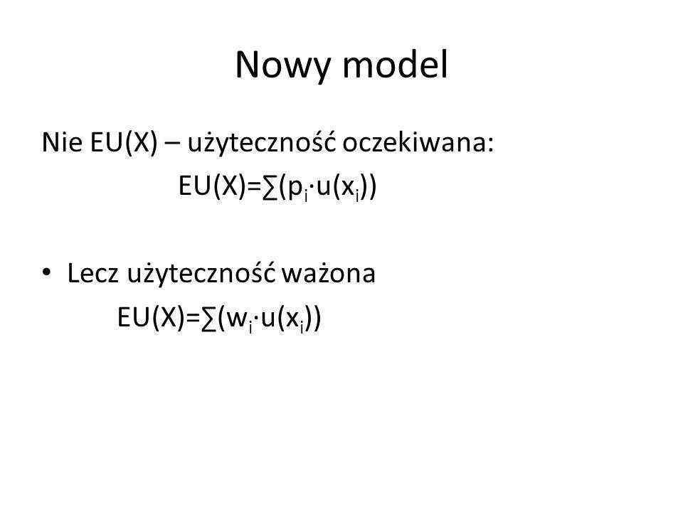 Nowy model Nie EU(X) – użyteczność oczekiwana: EU(X)=∑(pi∙u(xi))