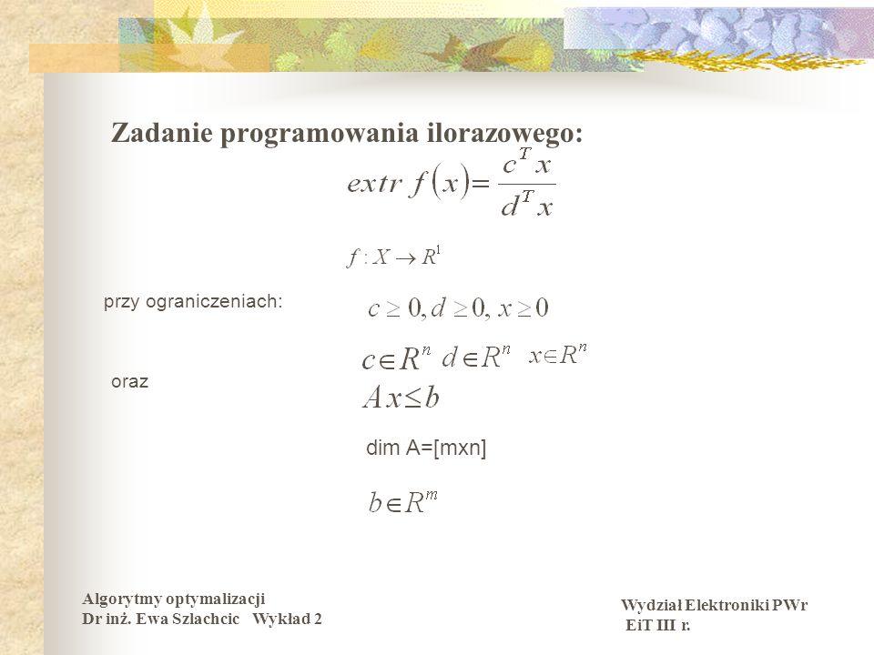 Zadanie programowania ilorazowego: