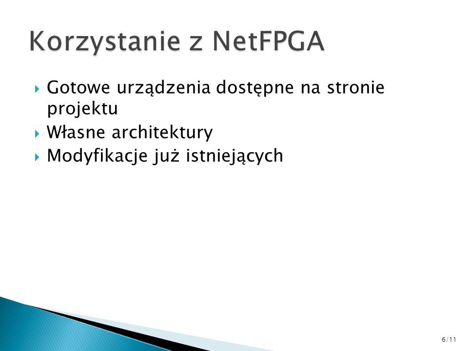Korzystanie z NetFPGA Gotowe urządzenia dostępne na stronie projektu