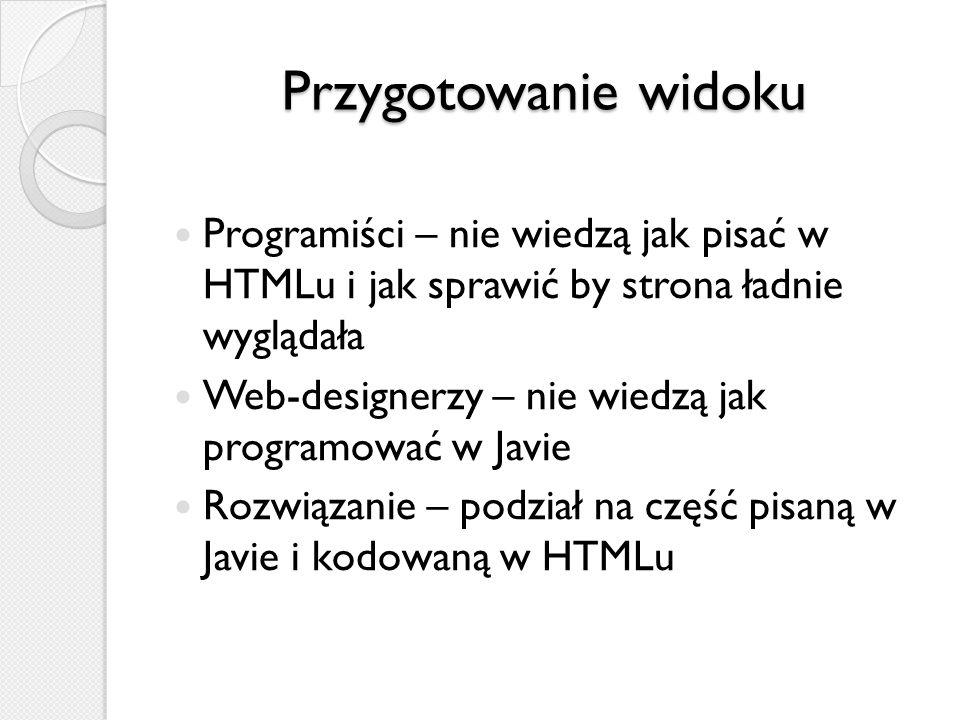 Przygotowanie widoku Programiści – nie wiedzą jak pisać w HTMLu i jak sprawić by strona ładnie wyglądała.