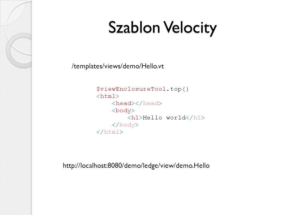 Szablon Velocity /templates/views/demo/Hello.vt