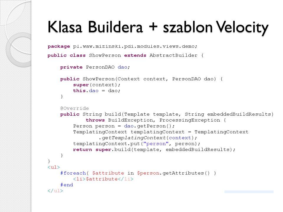 Klasa Buildera + szablon Velocity