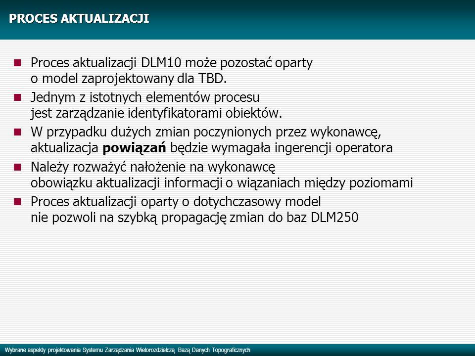 PROCES AKTUALIZACJI Proces aktualizacji DLM10 może pozostać oparty o model zaprojektowany dla TBD.