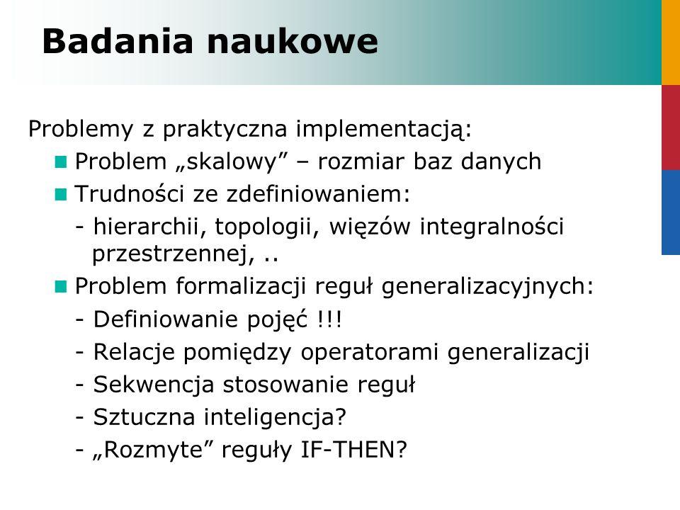 Badania naukowe Problemy z praktyczna implementacją: