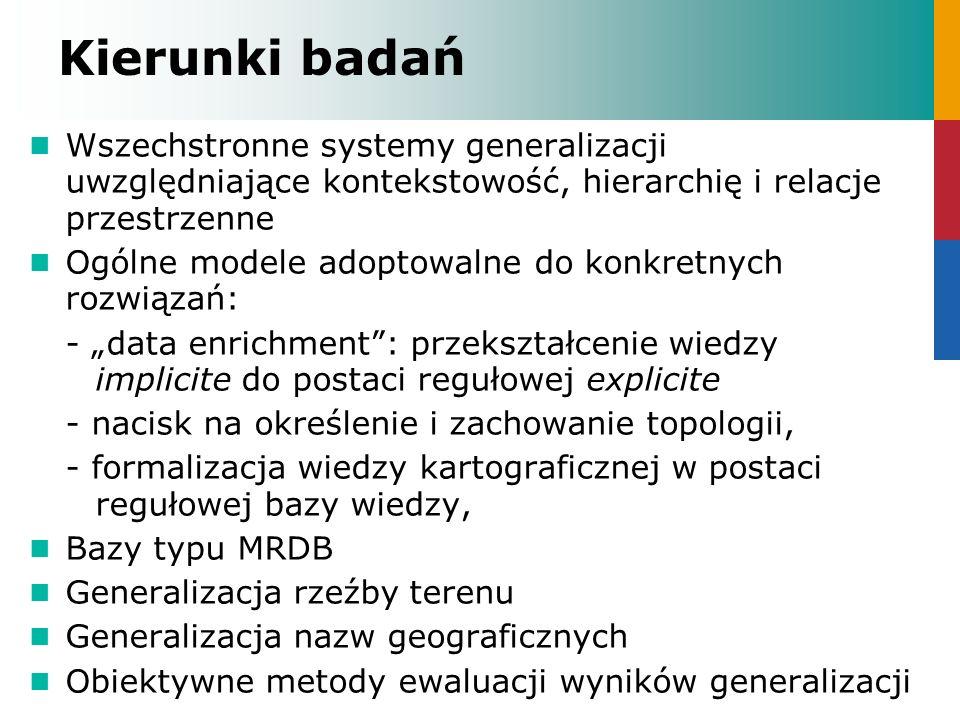 Kierunki badań Wszechstronne systemy generalizacji uwzględniające kontekstowość, hierarchię i relacje przestrzenne.