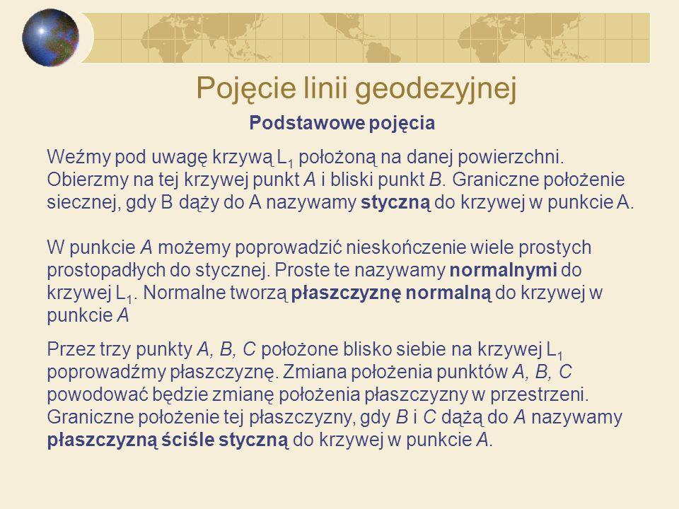Pojęcie linii geodezyjnej