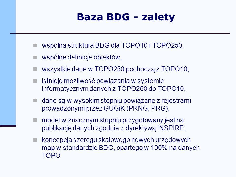 Baza BDG - zalety wspólna struktura BDG dla TOPO10 i TOPO250,