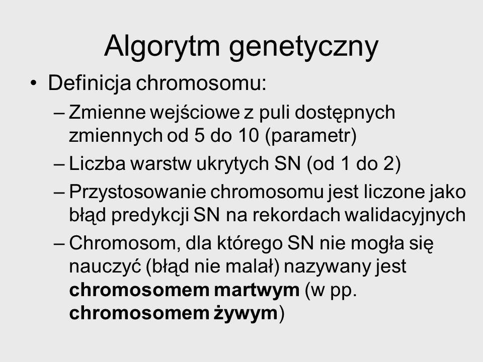 Algorytm genetyczny Definicja chromosomu: