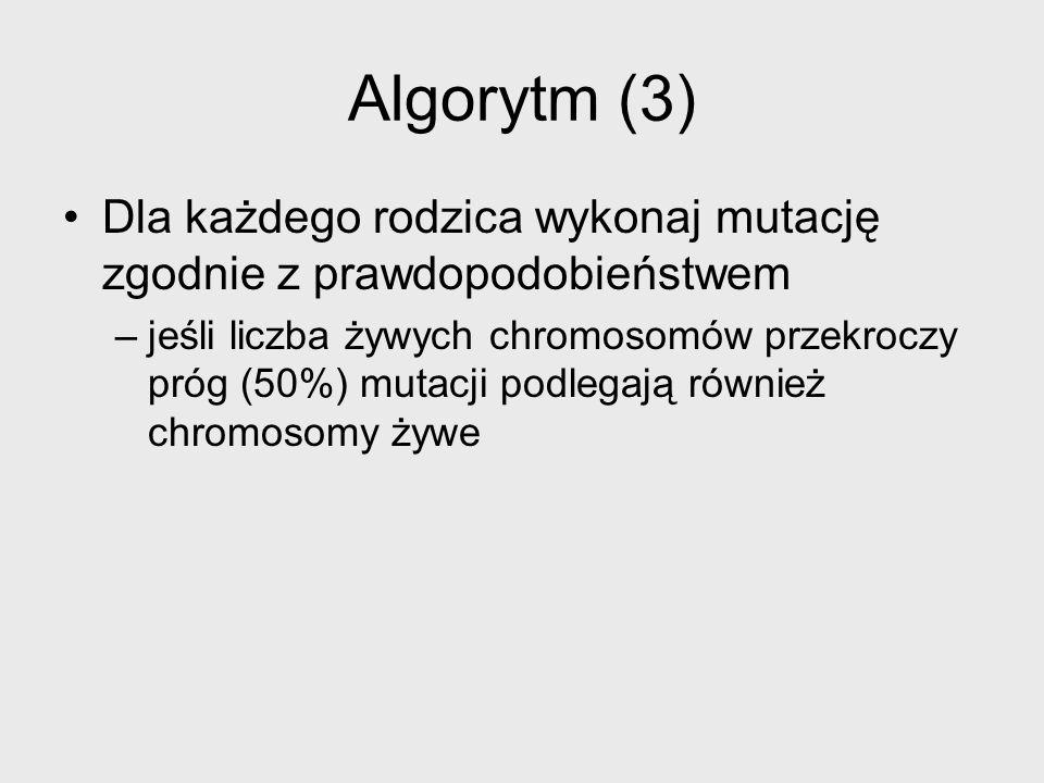 Algorytm (3) Dla każdego rodzica wykonaj mutację zgodnie z prawdopodobieństwem.