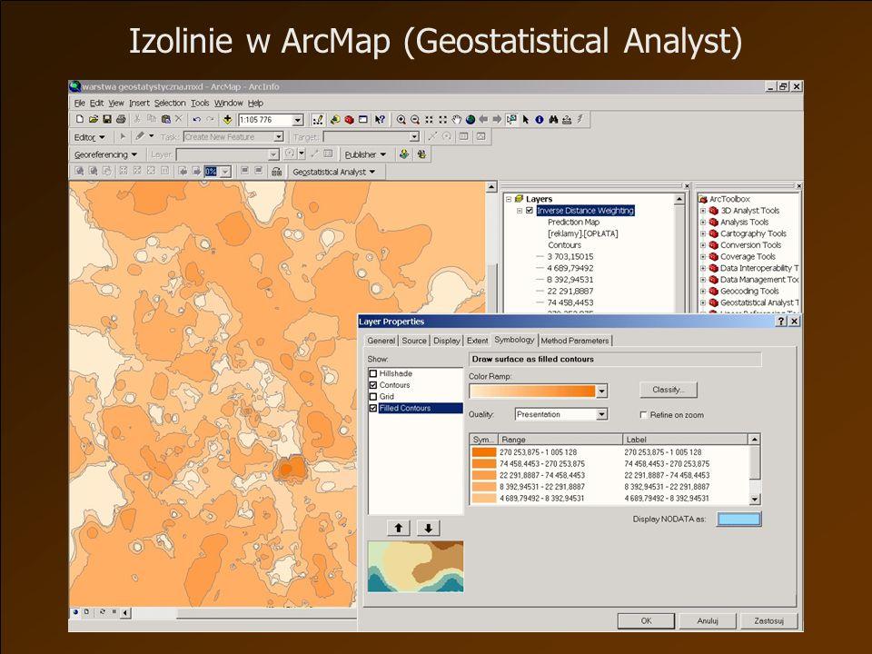 Izolinie w ArcMap (Geostatistical Analyst)