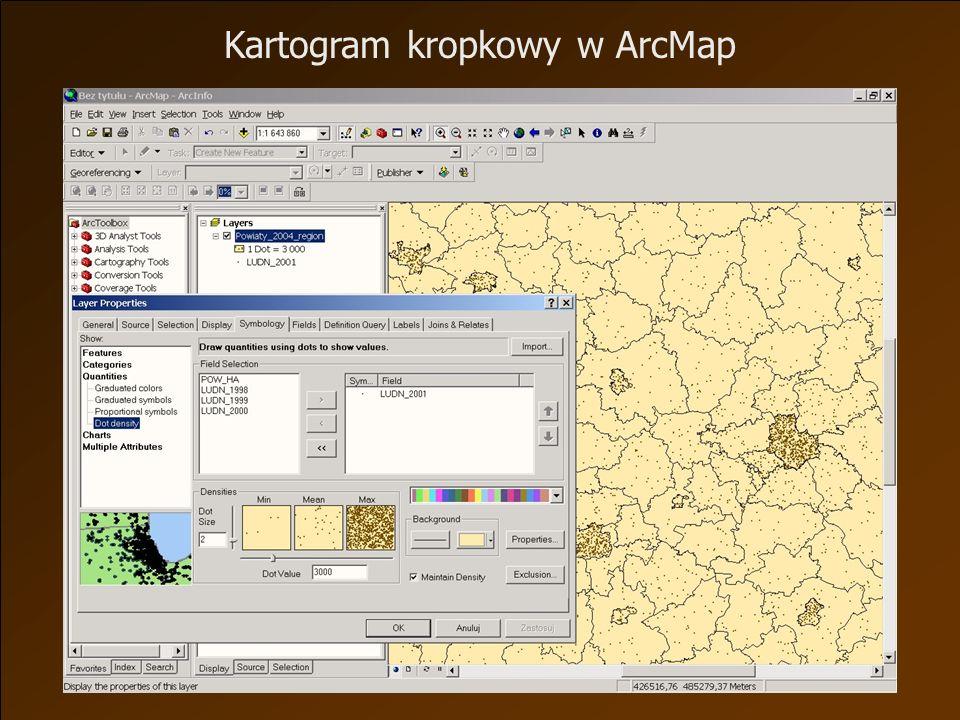 Kartogram kropkowy w ArcMap