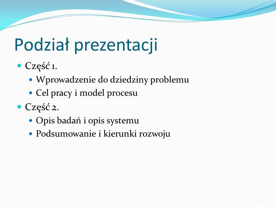 Podział prezentacji Część 1. Część 2.