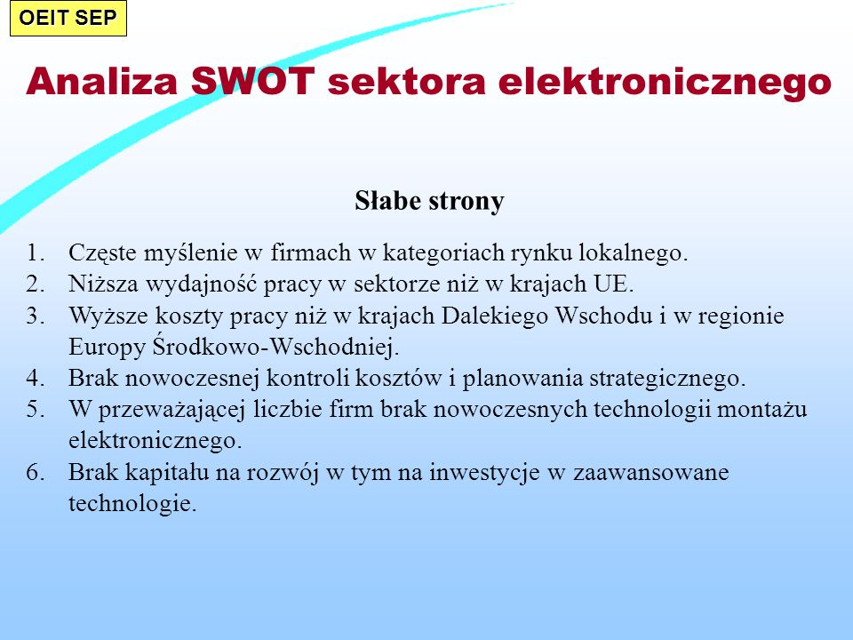 Analiza SWOT sektora elektronicznego