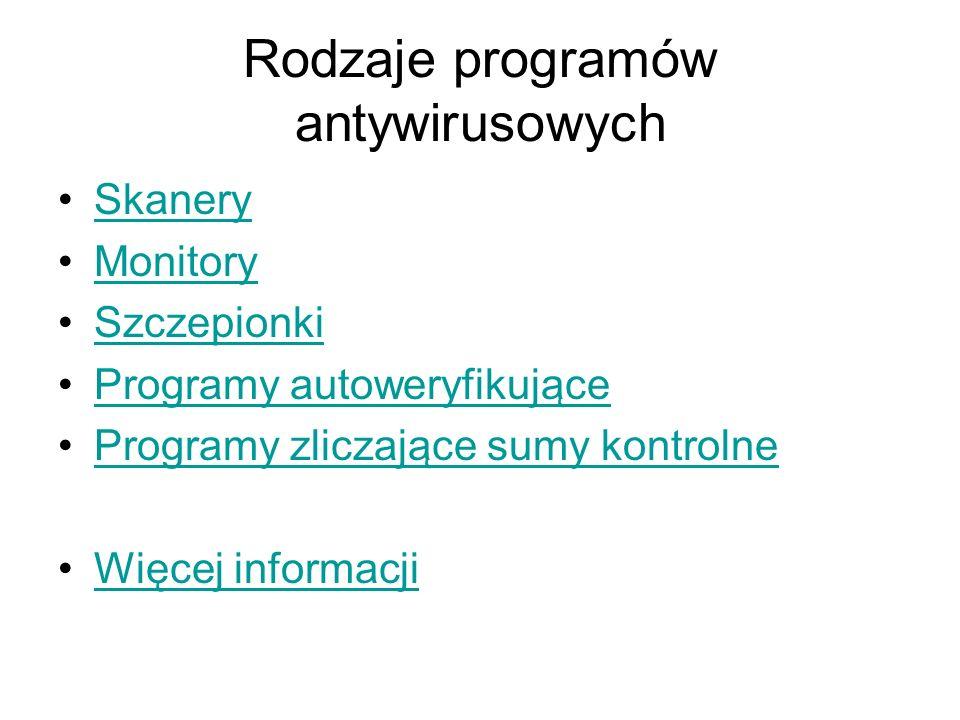 Rodzaje programów antywirusowych