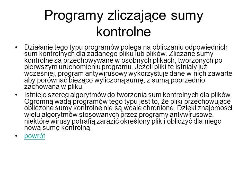 Programy zliczające sumy kontrolne