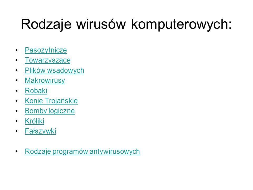 Rodzaje wirusów komputerowych: