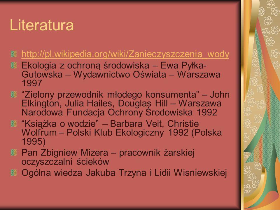 Literatura http://pl.wikipedia.org/wiki/Zanieczyszczenia_wody