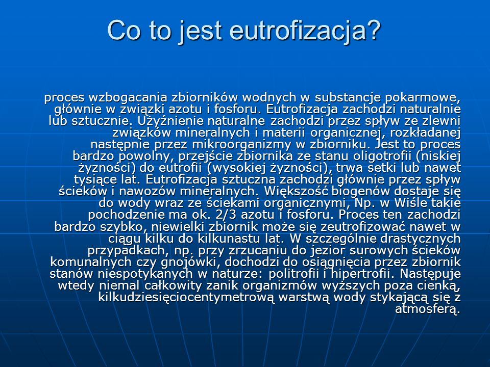 Co to jest eutrofizacja