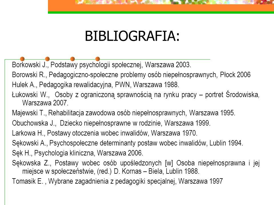 BIBLIOGRAFIA: Borkowski J., Podstawy psychologii społecznej, Warszawa 2003.