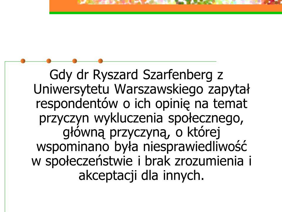 Gdy dr Ryszard Szarfenberg z Uniwersytetu Warszawskiego zapytał respondentów o ich opinię na temat przyczyn wykluczenia społecznego, główną przyczyną, o której wspominano była niesprawiedliwość w społeczeństwie i brak zrozumienia i akceptacji dla innych.