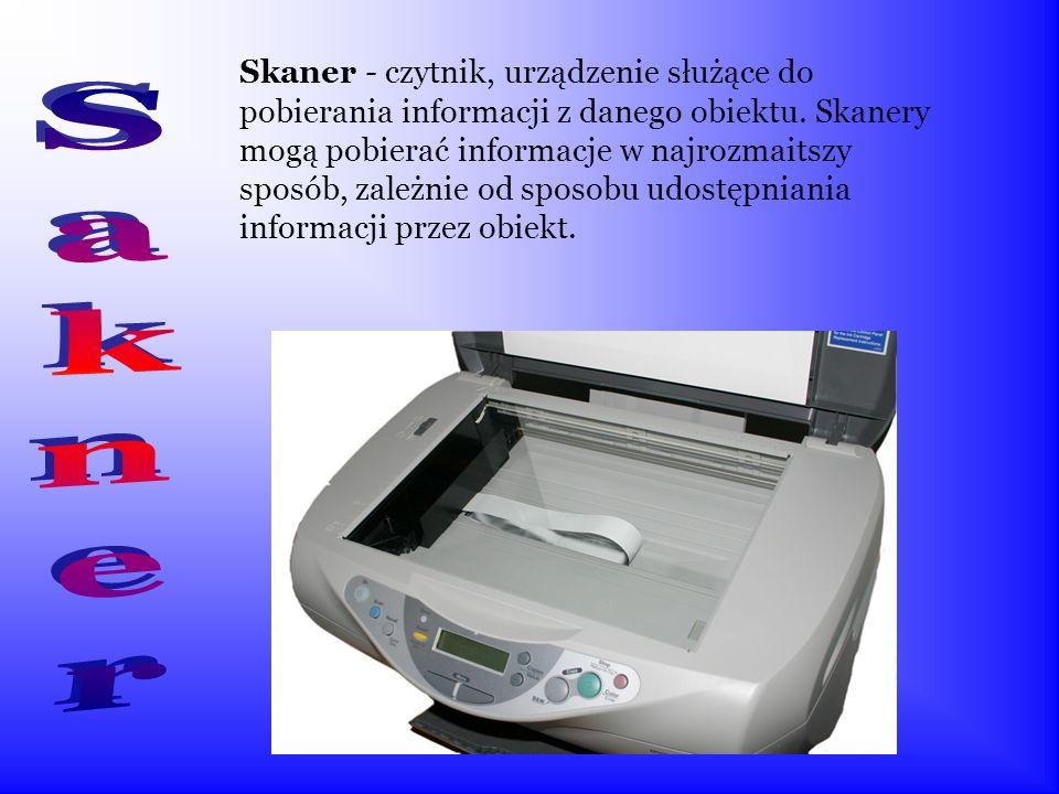 Skaner - czytnik, urządzenie służące do pobierania informacji z danego obiektu. Skanery mogą pobierać informacje w najrozmaitszy sposób, zależnie od sposobu udostępniania informacji przez obiekt.