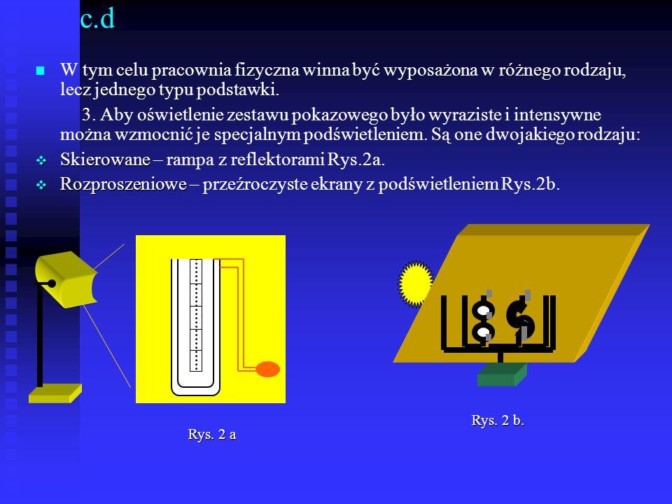 c.dW tym celu pracownia fizyczna winna być wyposażona w różnego rodzaju, lecz jednego typu podstawki.
