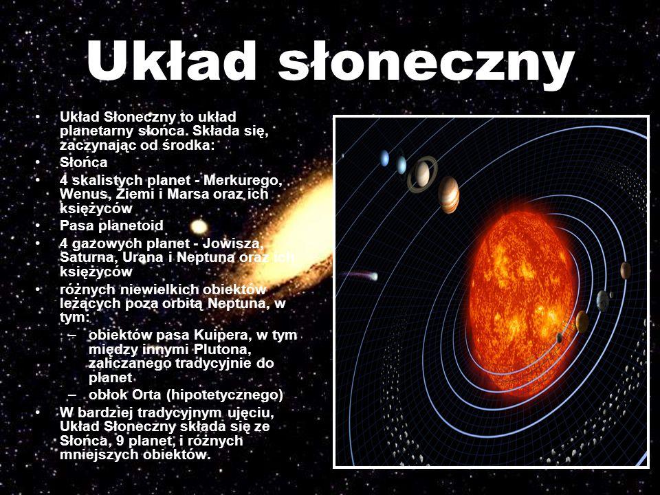 Układ słoneczny Układ Słoneczny to układ planetarny słońca. Składa się, zaczynając od środka: Słońca.
