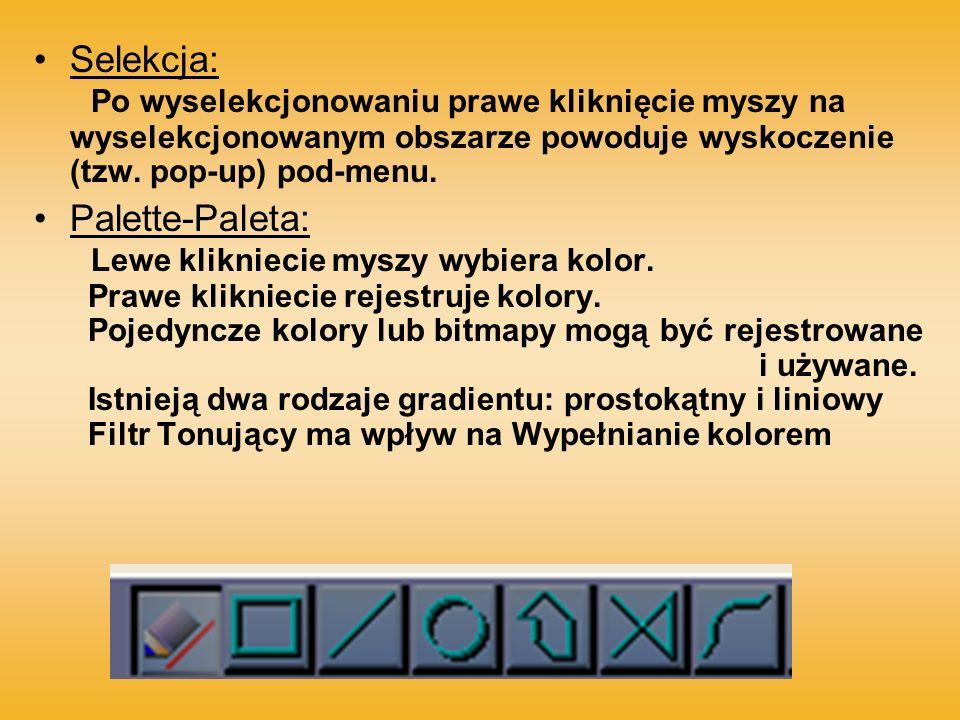 Selekcja: Po wyselekcjonowaniu prawe kliknięcie myszy na wyselekcjonowanym obszarze powoduje wyskoczenie (tzw. pop-up) pod-menu.