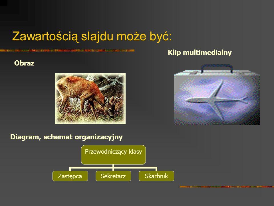 Zawartością slajdu może być: