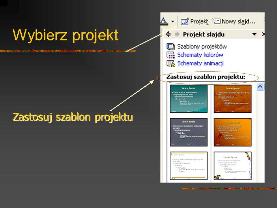 Wybierz projekt Zastosuj szablon projektu