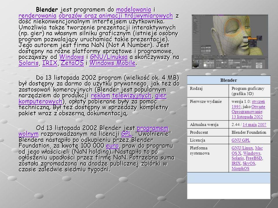 Blender jest programem do modelowania i renderowania obrazów oraz animacji trójwymiarowych z dość niekonwencjonalnym interfejsem użytkownika. Umożliwia także tworzenie prezentacji interaktywnych (np. gier) na własnym silniku graficznym (istnieje osobny program pozwalający uruchamiać takie prezentacje). Jego autorem jest firma NaN (Not A Number). Jest dostępny na różne platformy sprzętowe i programowe, począwszy od Windows i GNU/Linuksa a skończywszy na Solaris, IRIX, ZetaOS i Windows Mobile.