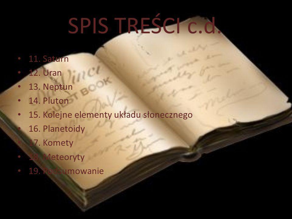 SPIS TREŚCI c.d. 11. Saturn 12. Uran 13. Neptun 14. Pluton