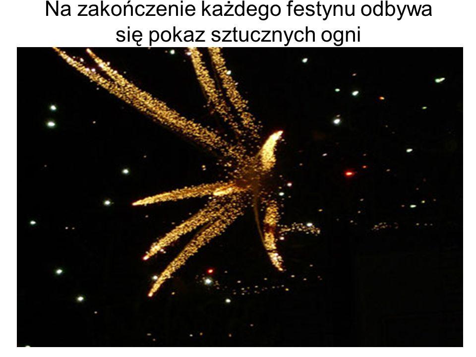 Na zakończenie każdego festynu odbywa się pokaz sztucznych ogni